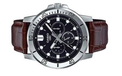 CASIO Men Multi Hands Leather Watch MTP-VD300L-1EU