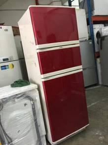 3 Doors Red Elba Fridge Refrigerator Peti Sejuk