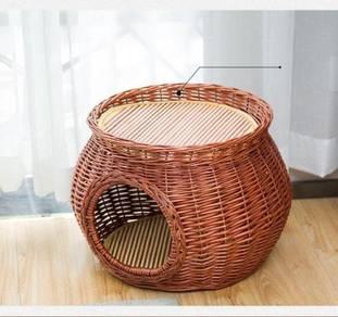 Rattan Cat House, Pet Cage kennel, Sangkar Kucing