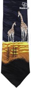 Giraffe Animal Dark Blue Cartoon Fancy Neck Tie