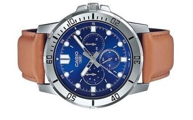 CASIO Men Multi Hands Leather Watch MTP-VD300L-2EU