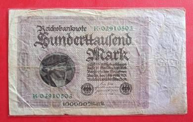 Wang Kertas GERMANY 100000 Mark 1923