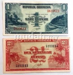 Indonesia 1953 1 rp unc and 2.5 rp aunc 2 pcs