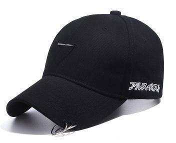 C043 Ring Buckle Hip-Hop Black Plain Baseball Cap