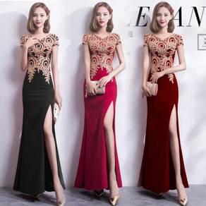 Blue black red gold slit prom dress gown RBP0833