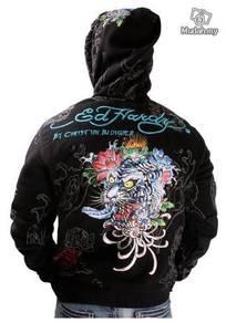 Embroidery sweater zipper shirt ed hardy