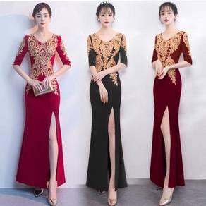 Blue black red long sleeve prom dress RBP0832