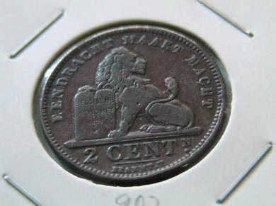 Belgium 2 Centimes 1902