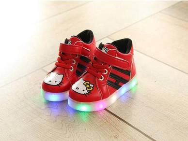 High-Cut Hello Kitty Shoes with LED Light 863-RED