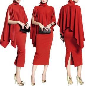 Red cape midi bodycon dress party office OL RBP014