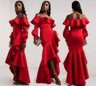 Red blue off shoulder sexy prom dress gown RBP0840