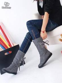 Rubber sole boots shoes winter female