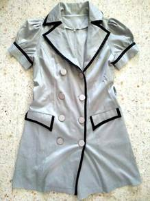 Grey windbreaker coat office formal OL dress