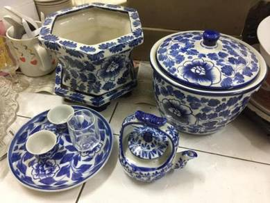 Old near antique blue colored Chinaware