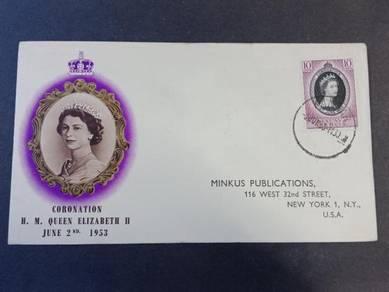 Antik FDC PERLIS Coronation 1953 No 3224