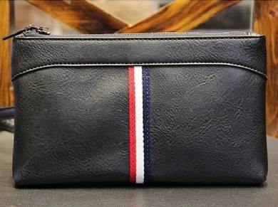 J042 Big Size Black Clutch Bag Men's Long Wallet