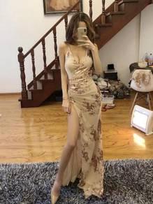Nude black slit sexy prom dress gown RBP0839