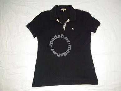 Burberry Ladies Black Polo Shirt L (PL4120)