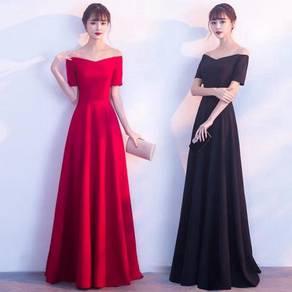 Red black off shoulder prom dress gown RBP0836
