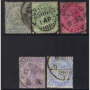 India qv 1900-1902 used set of 5 cat 13+ bk949