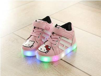 High-Cut Hello Kitty Shoes with LED Light 863-PINK