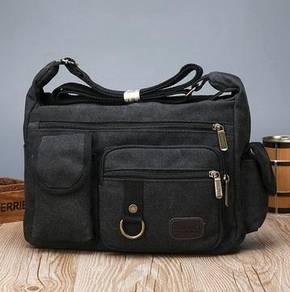 J0187 Black Multi-Pocket Tactical Porter Sling Bag