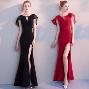 Black red slit bodycon prom dress RBP0834