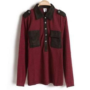 (0581) Black Red Stripe Collar Long Sleeve T-Shirt