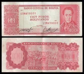 Bolivia 100 PESOS 1962 Sign.1 P 164A VF