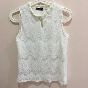 Lacey Insert Top With Beaded Ribbon Details