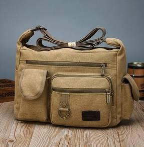 J0187 Khaki Multi-Pocket Tactical Porter Sling Bag