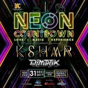 Neon countdown tickets