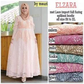 Elzara ( maxi dress) peach pink grey