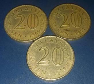 Duit Syiling 20 Sen 1969, 1971 & 1978 (3 pcs)