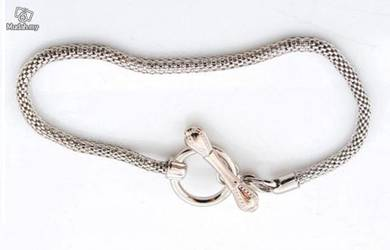 ABBSM-S009 Silver Tone Lobster Ring Clasp Bracelet