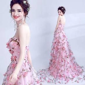 Pink flower wedding bridal prom dress gown RB0384