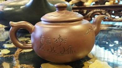 Chinese antique vintage clay teapot SLG