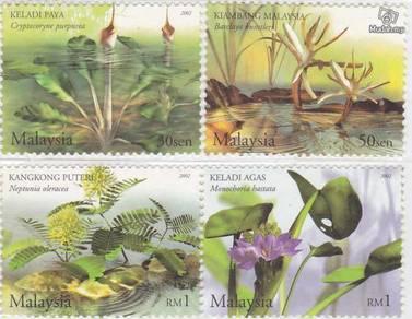 Mint Stamp Aquatic plant Malaysia 2002