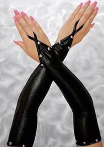 AG017 Black Metallic PU Elbow Fingerless Gloves