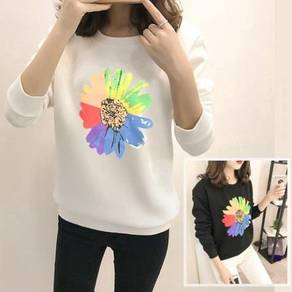 5571 Flower Printed Sweater (white)