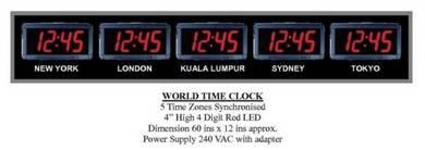 Digital Red LED World Time