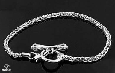 ABBSM-S008 Silver Tone Lobster Ring Clasp Bracelet