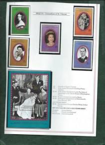 Bequia St Vincent 1987 set & minisheet MNH BJ578