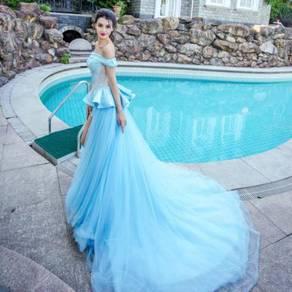 Blue pink fishtail wedding bridal prom dress gown