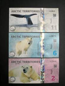 Arctic territories 2 1/2, 6 & 11 dollars