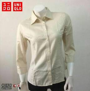 Baju Uniqlo non iron plus button up lady shirt