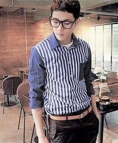 (524) Blue Vertical Stripe Man Long-Sleeved Shirt