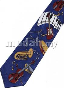 Keyboard Guitar Violin Trombone Musical Neck Tie