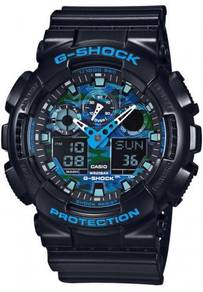 G-SHOCK Black-Blue Camouflage Model GA-100CB-1ADR