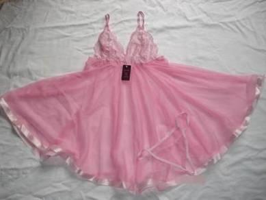 L157 New Pink Lace Lingerie Sleepwear Dress